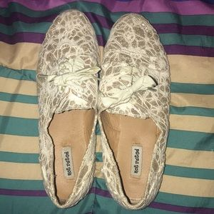 Off white lace and gold glitter flats